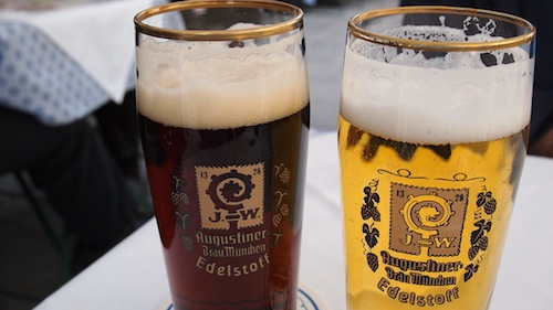 The Dunkel and Helles at Augustiner Brau.