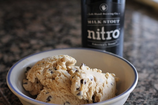 Bowl of ice cream made with milk stout beer