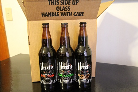 Bottles of Heretic beer
