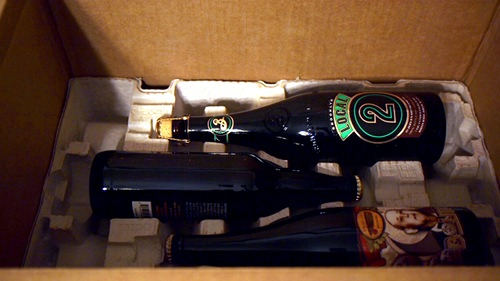 LetsPour beer bottles in the box with packaging materials.