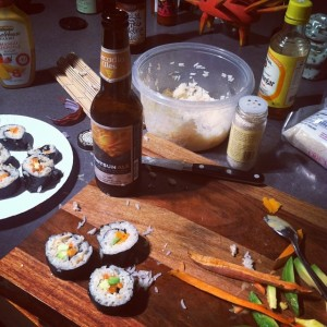 Making veggie sushi and doing some taste testing
