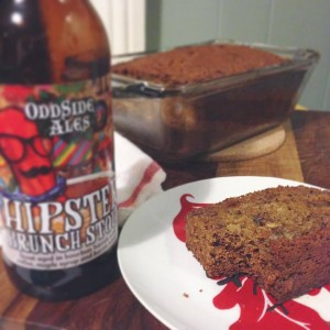 Testing my abilities to bake with beer. This banana bread turned out pretty unique, but it was better eating it and drinking the remainder of the beer