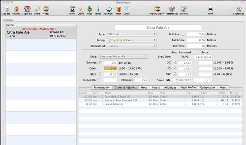 iBrewMaster Recipe Screen