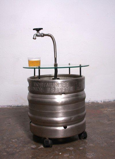 empty beer keg table