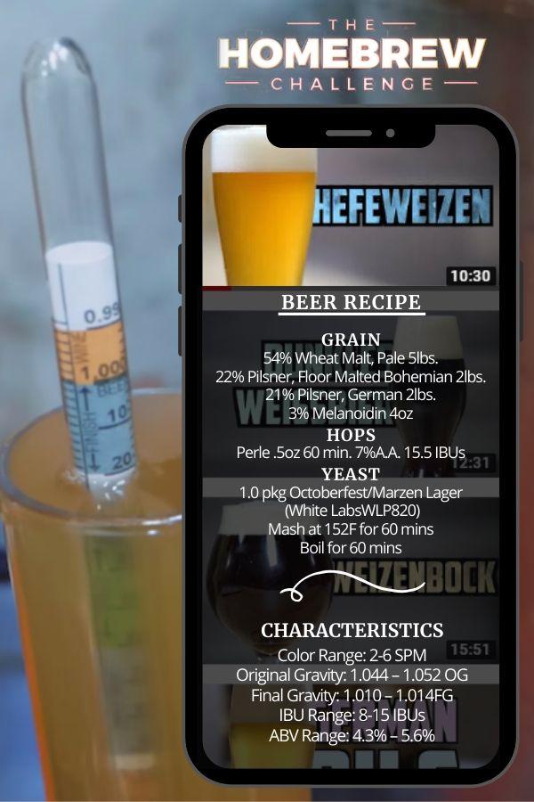 Hefeweizen Home Brew Beer Recipe Card