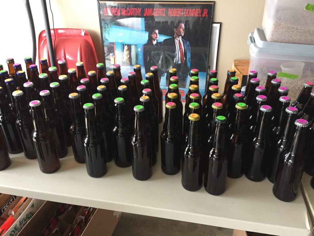 homebrewed beer with colored bottle caps