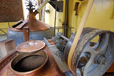Brewing kettles at Cantillon brewery