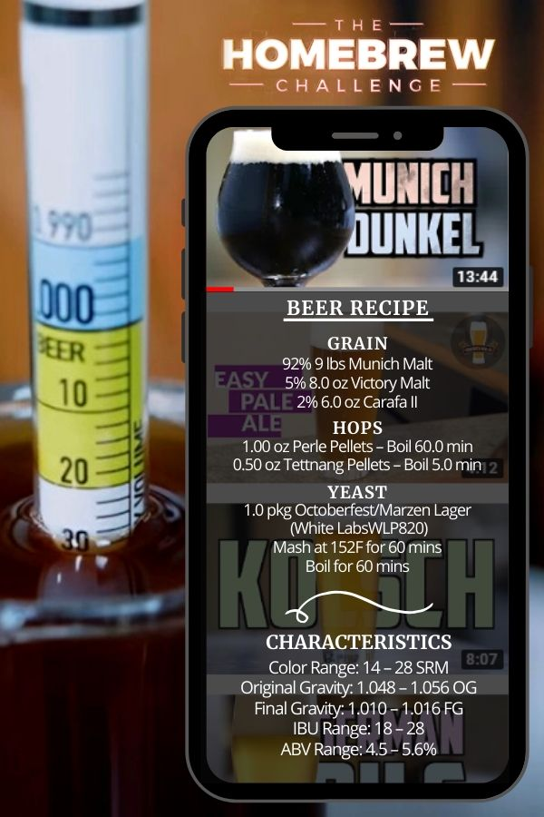 Munich Dunkel Home Brew Beer Recipe Card