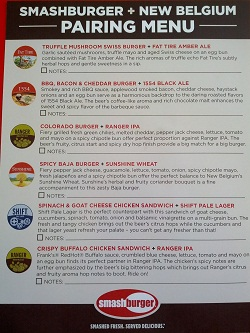 Menu of beer and burger pairings