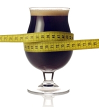 Beer glass and measuring tape