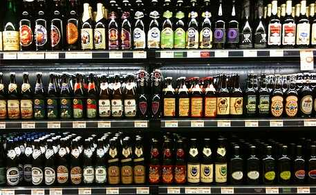 Shelf full of beer