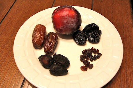 Plum, dates, figs, raisins, prunes