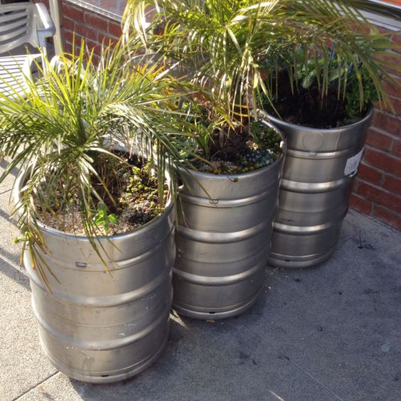 Empty Beer Keg Garden Pots
