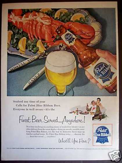 Pabst Vintage Ad - Pabst with Lobster