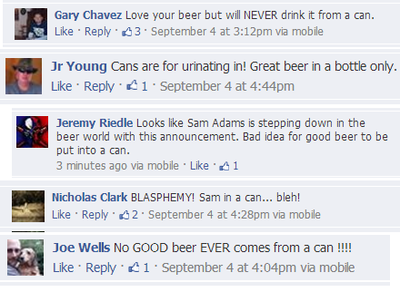 LOTS of people hate the idea of beer in cans